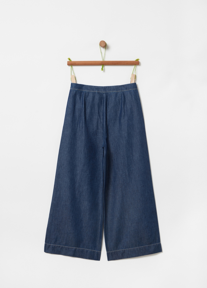 Crop trousers in cotton and Lyocell image number null