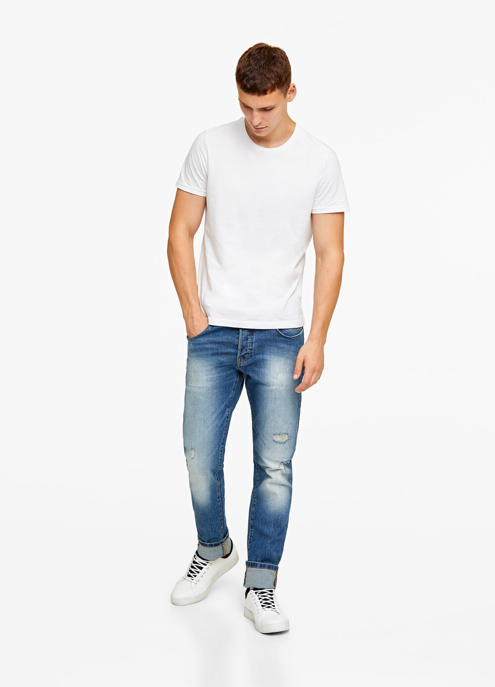 Jeans straight fit con rammendi