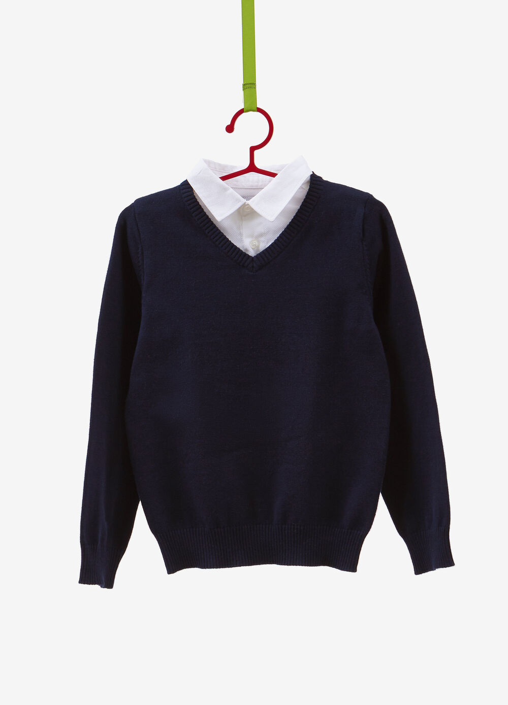 Cotton pullover with V neck