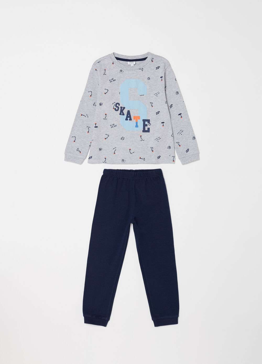 Full-length warm cotton pyjamas with skater pattern