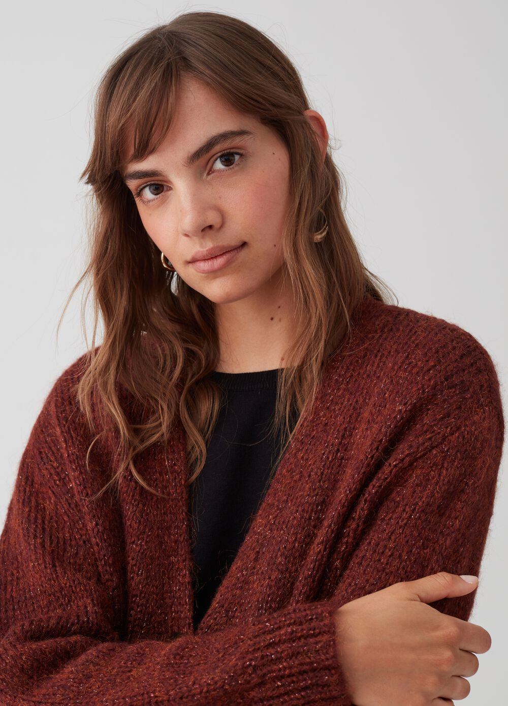 Maxi knitted cardigan with lurex