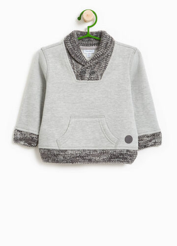 Cotton blend sweatshirt with knitted inserts