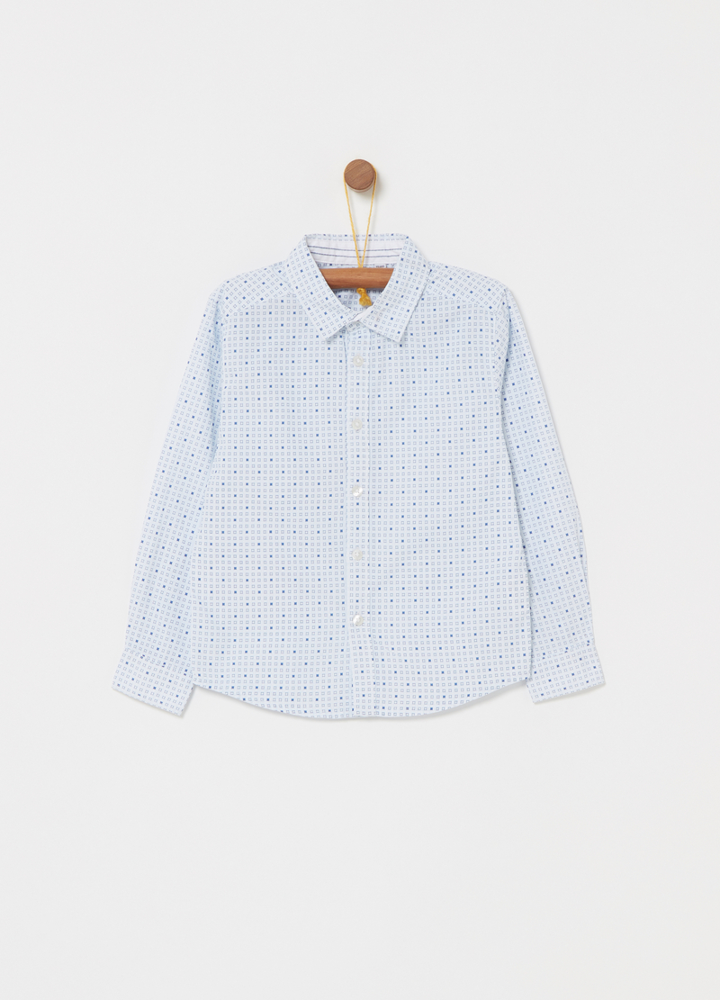 Poplin shirt with geometric pattern image number null