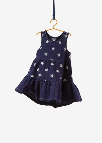 Sleeveless dress with glitter stars and ruffles