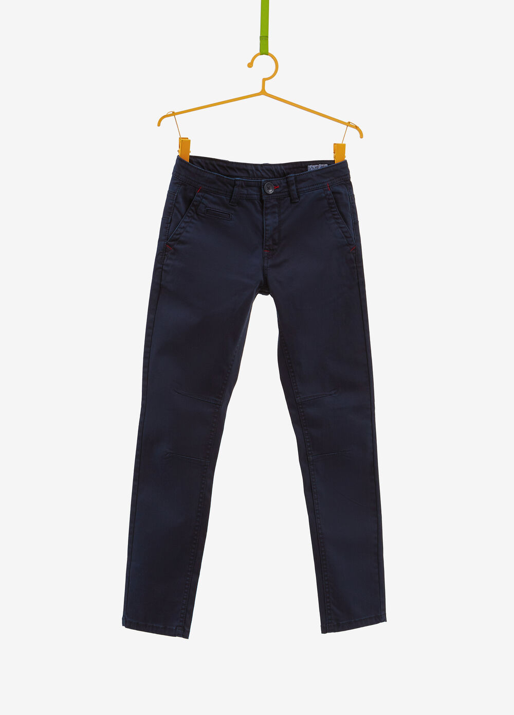 Stretch cotton trousers with stitching