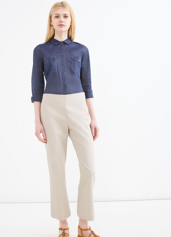 Stretch cotton trousers with zip