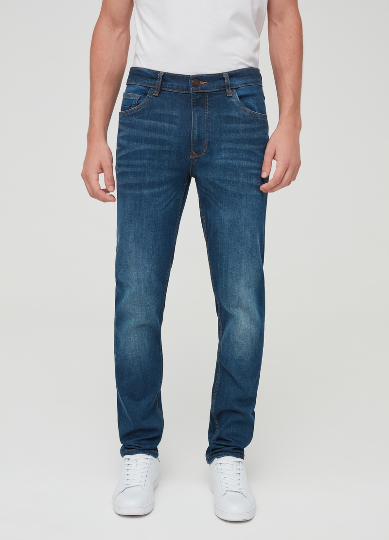 Skinny-fit, faded-effect jeans image number null