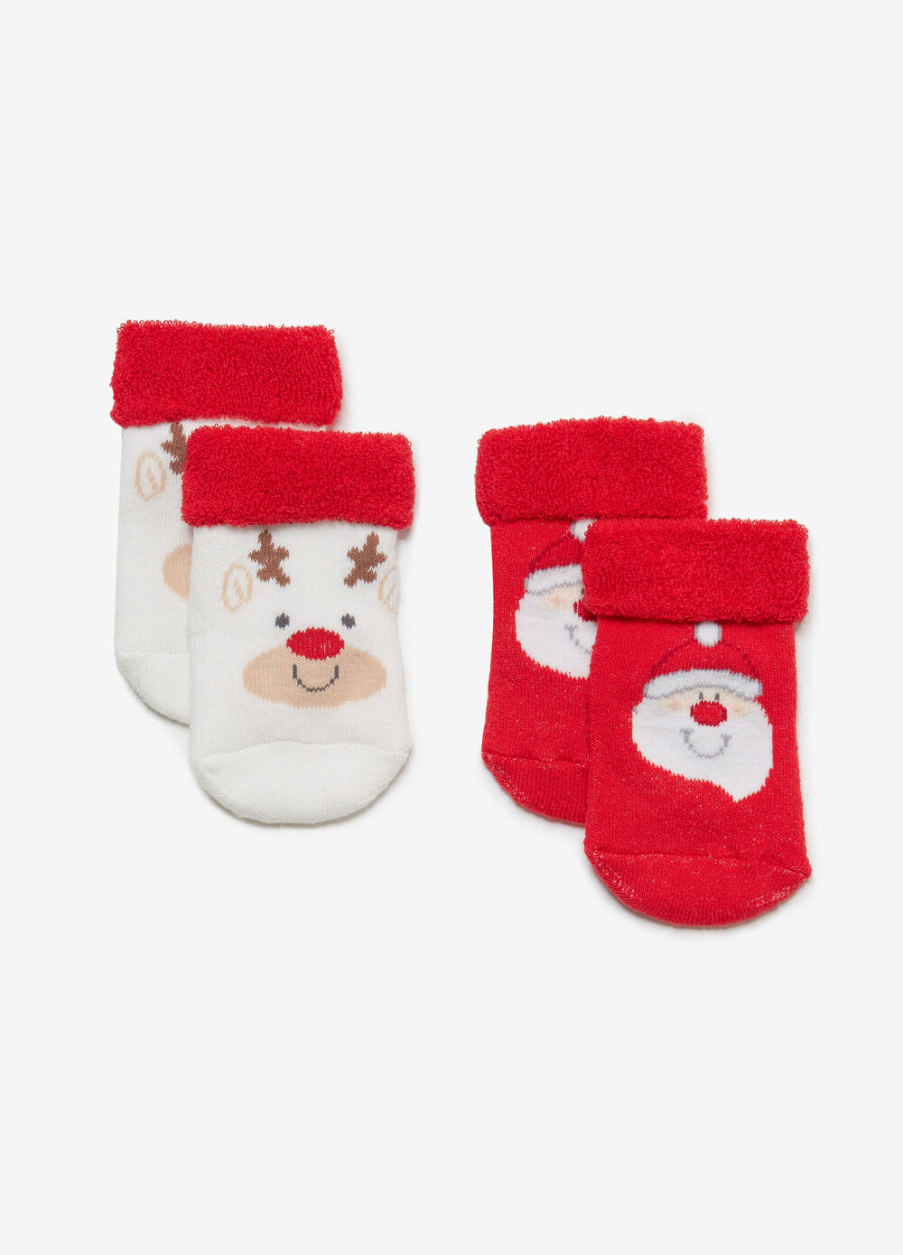 Two-pair pack short socks with Christmas print