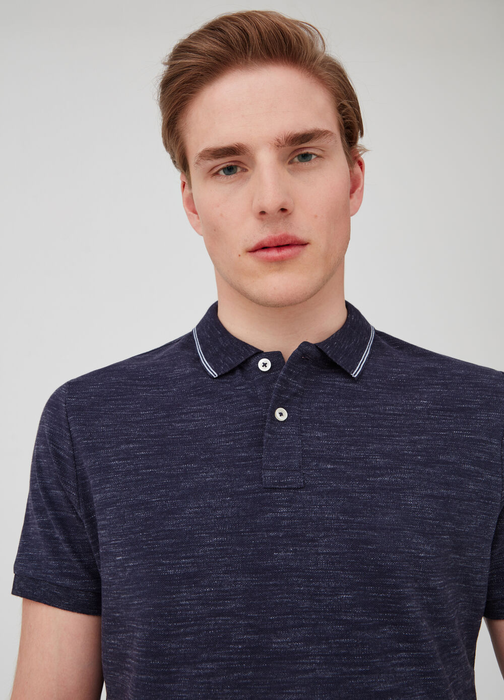 Mélange piquet polo shirt with ribbed opening