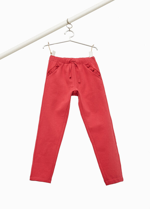 Stretch cotton trousers with flounce