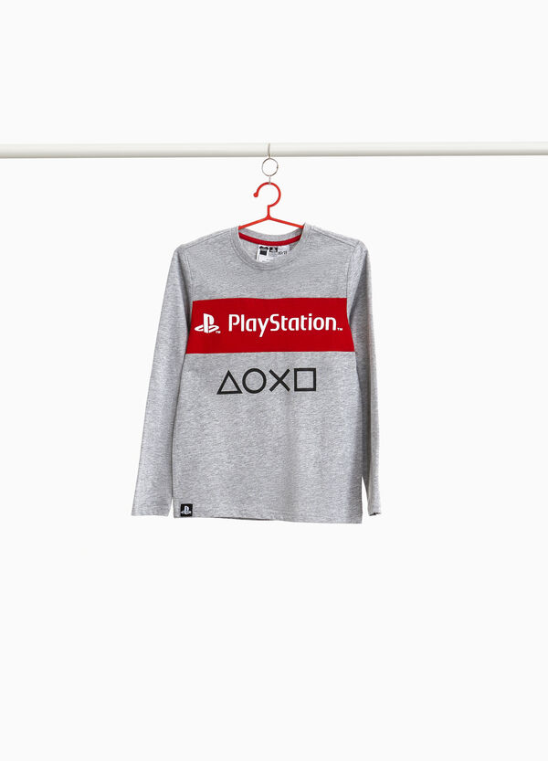 Mélange T-shirt with Play Station print