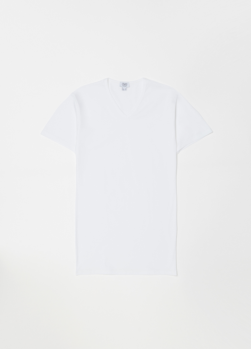 V-neck stretch cotton undershirt image number null