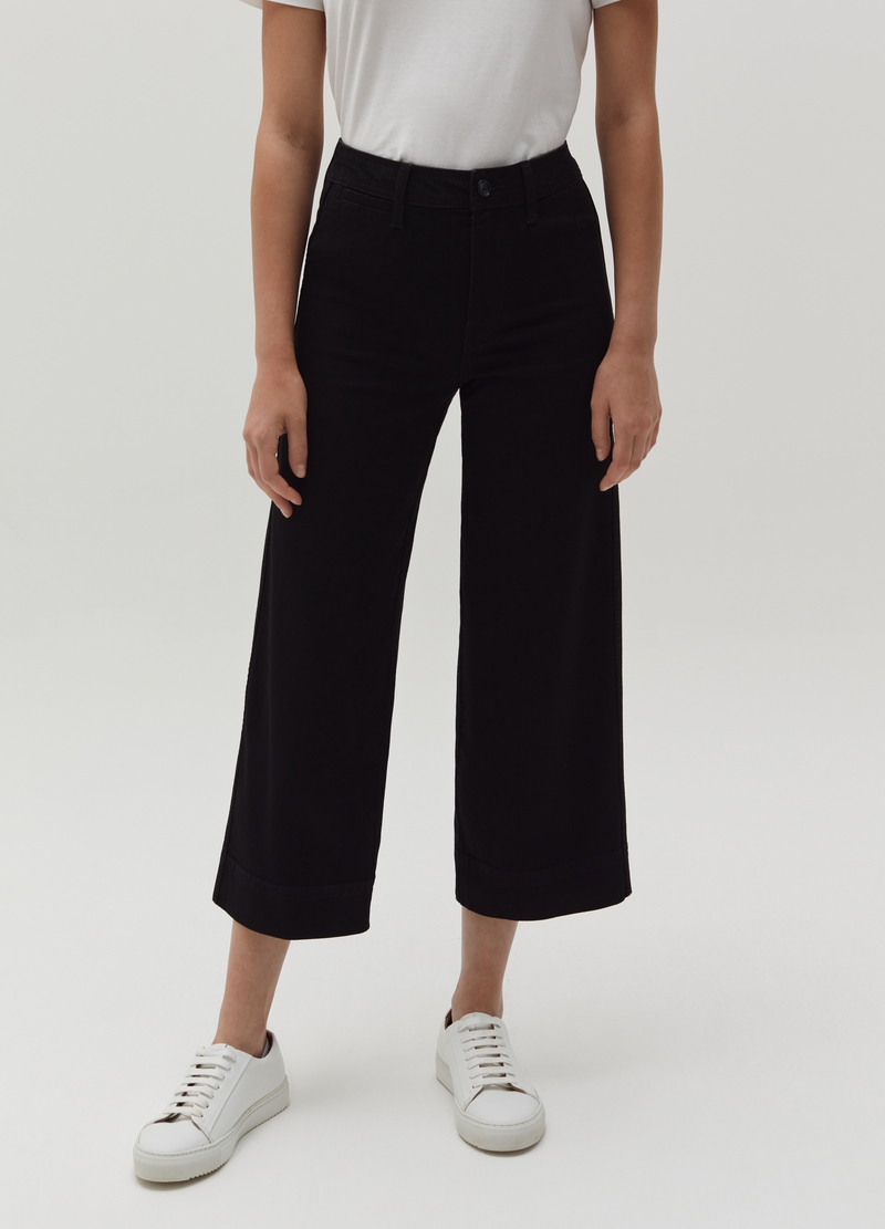 Wide-leg stretch jeans image number null