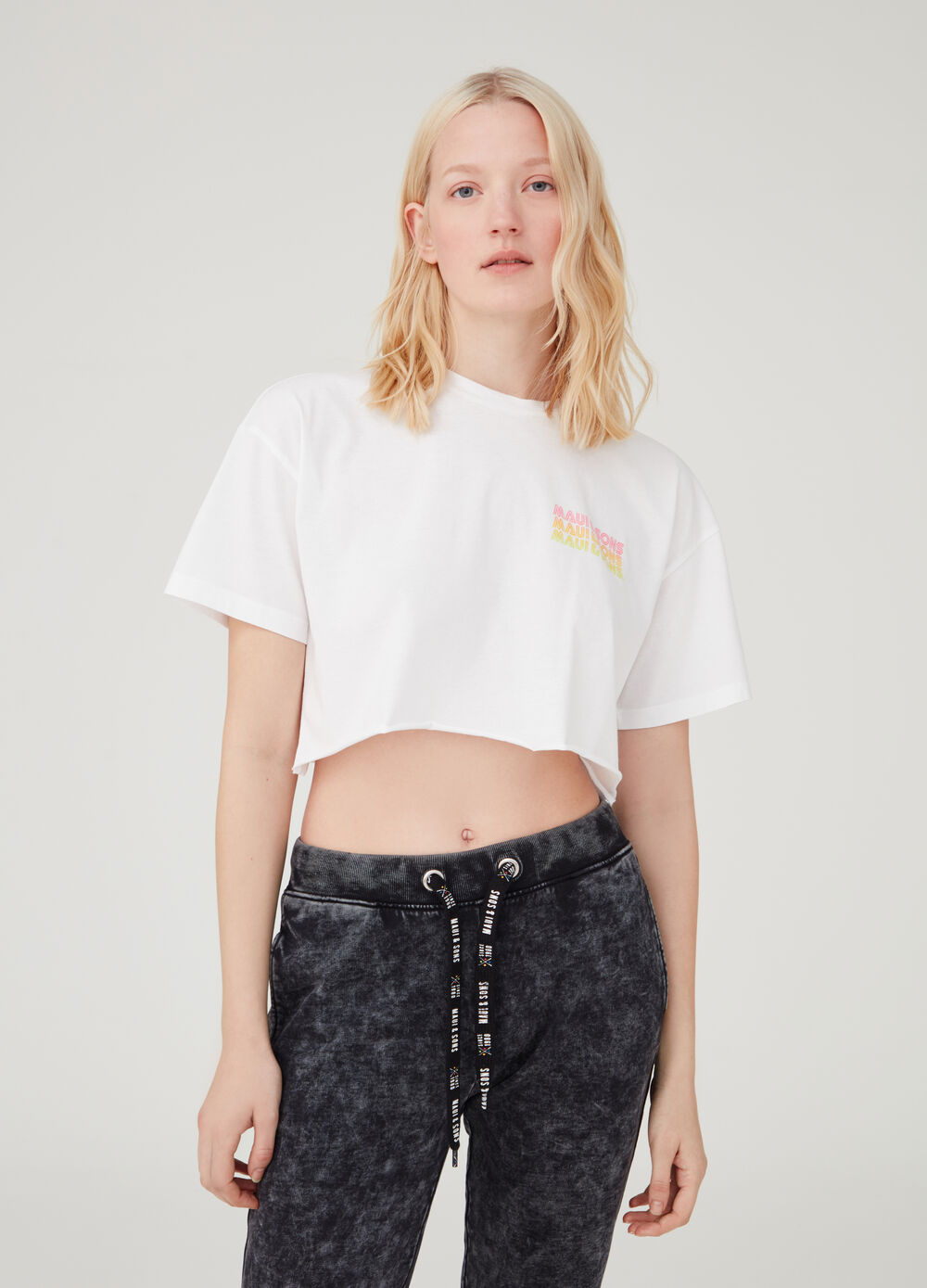 T-shirt crop con stampa Maui and Sons