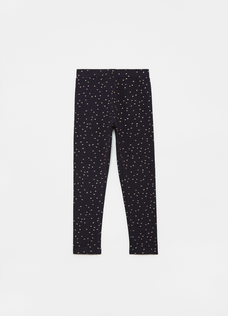 Fleece leggings with all-over small hearts print image number null