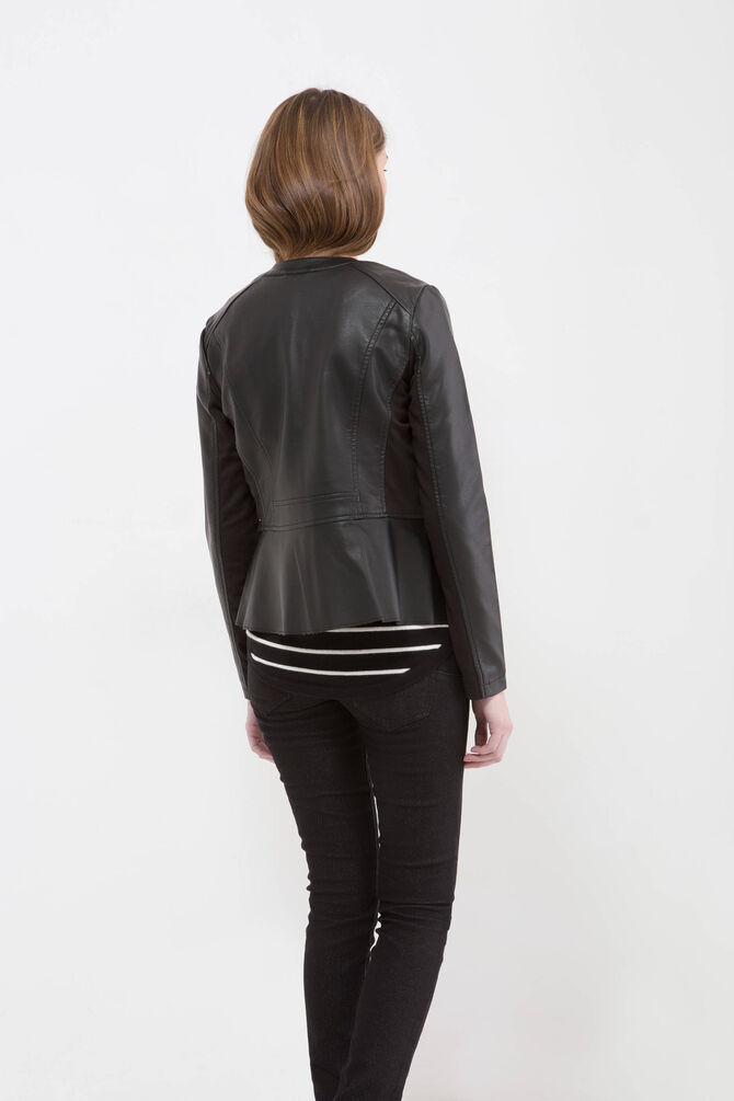 Plain leather look jacket