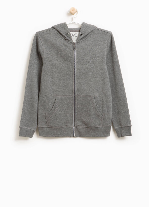 Cotton and viscose sweatshirt with hood | OVS