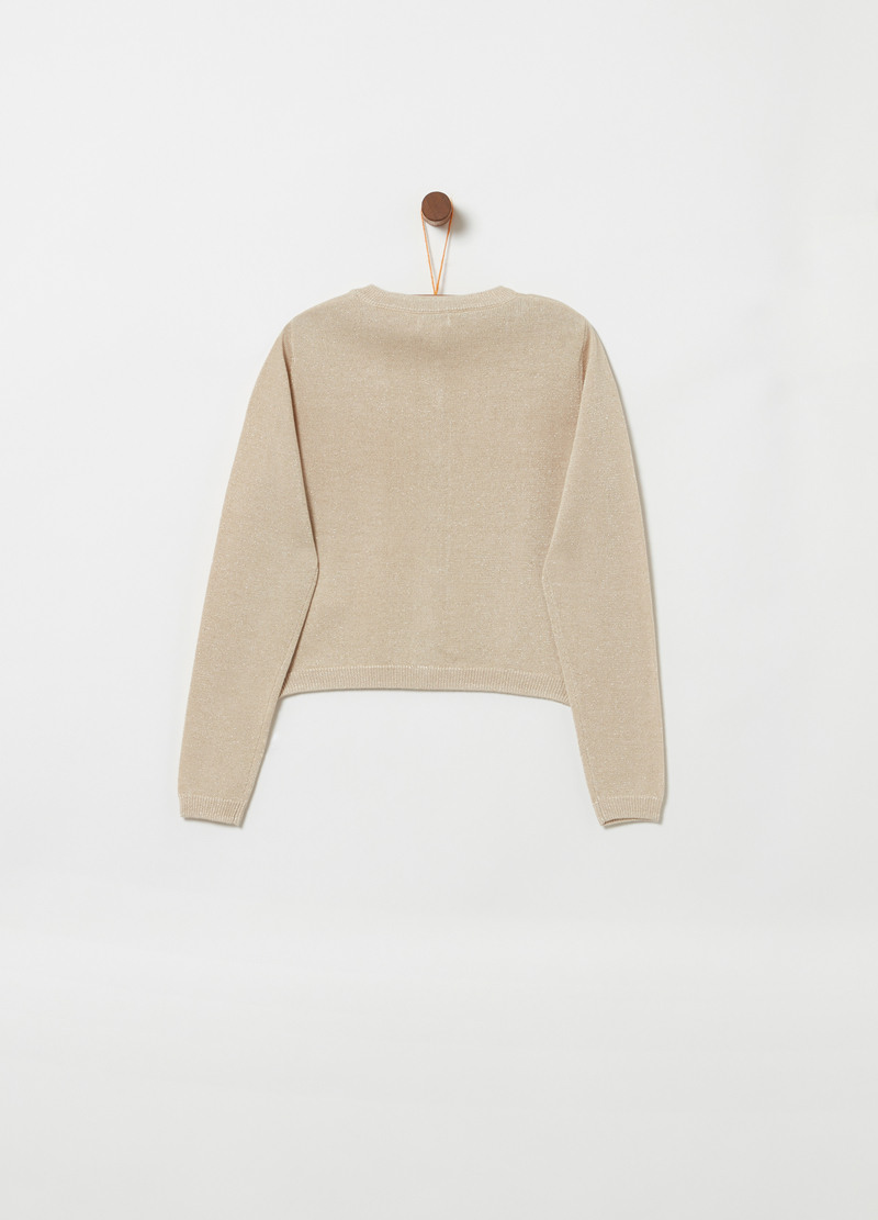 Knitted crop cardigan with lurex image number null