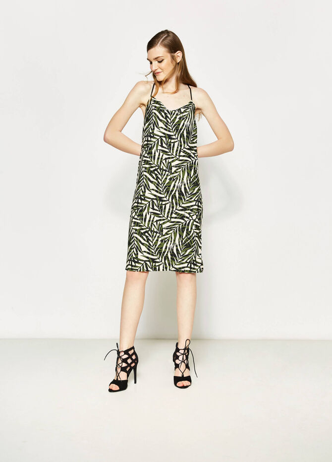Longuette dress with all-over print