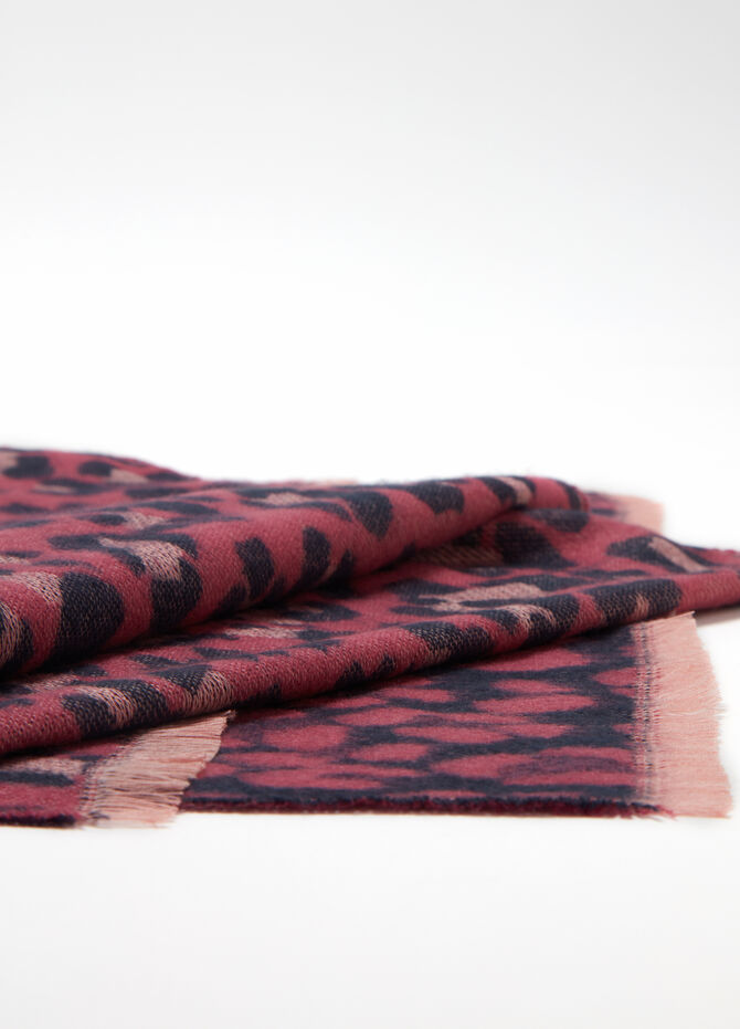 Maxi jacquard scarf with animal pattern