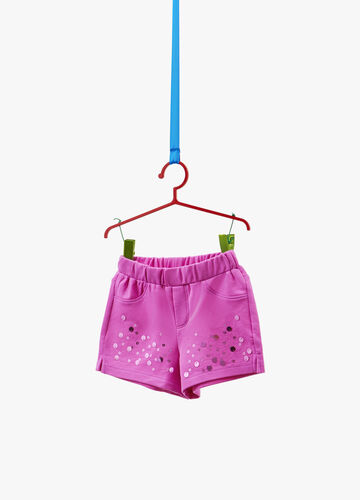 Shorts stretch con paillettes