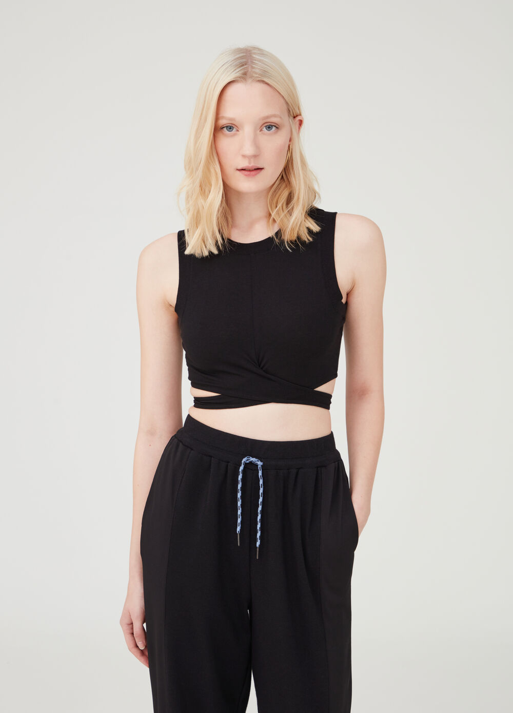 Crop tank top with ribbing and crossover