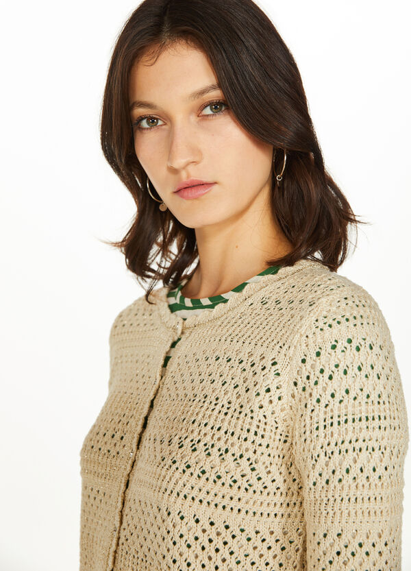 Openwork knitted cardigan in 100% cotton