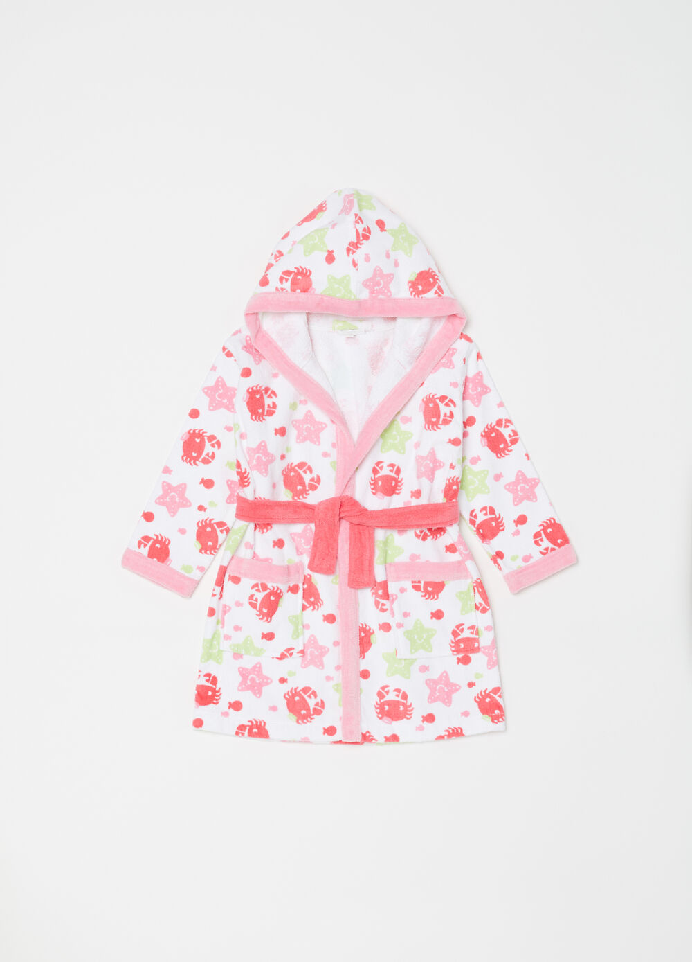 Cotton bathrobe with navy pattern
