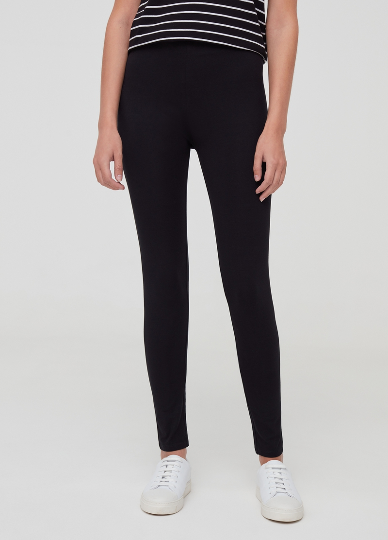 Leggings in cotone stretch tinta unita image number null