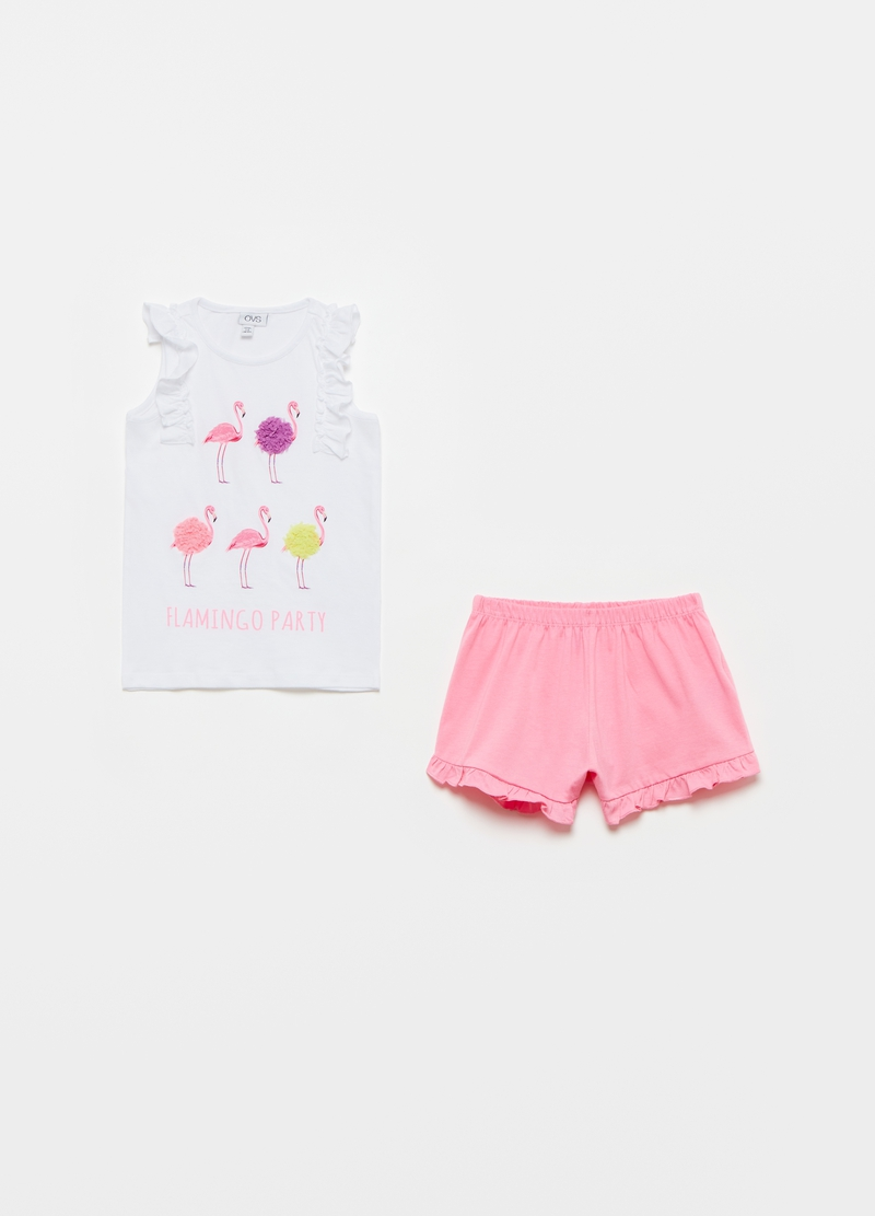 Short pyjamas in organic cotton with flamingoes image number null