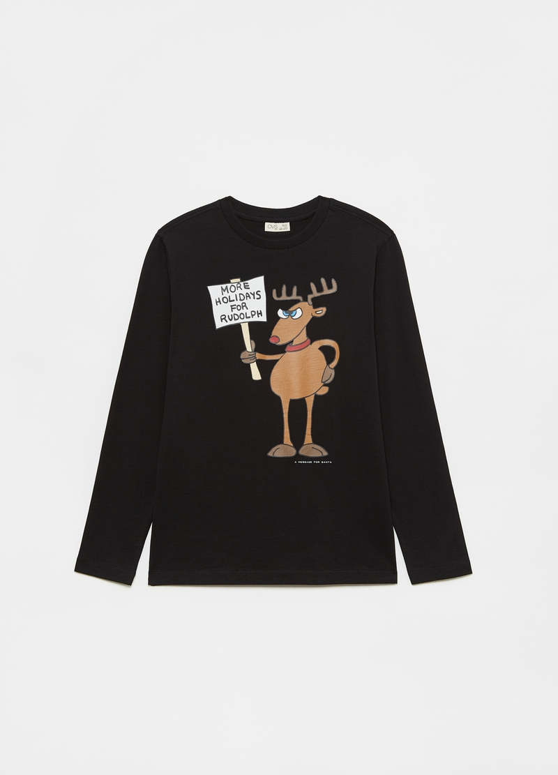 T-shirt with reindeer print and long sleeves image number null