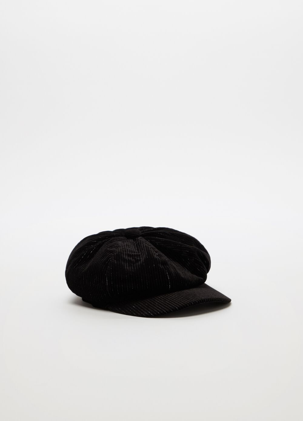 Baker boy hat in velvet with lurex