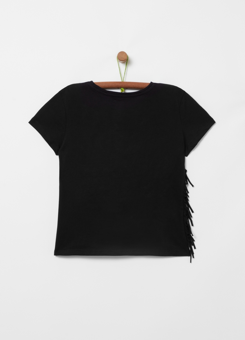 100% organic cotton T-shirt with fringing image number null