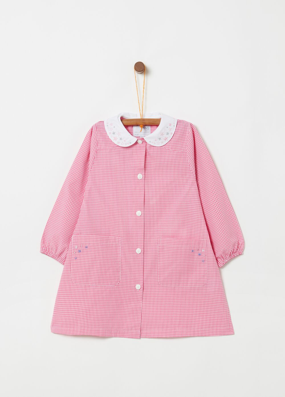 Smock with pockets embroidery and checked pattern