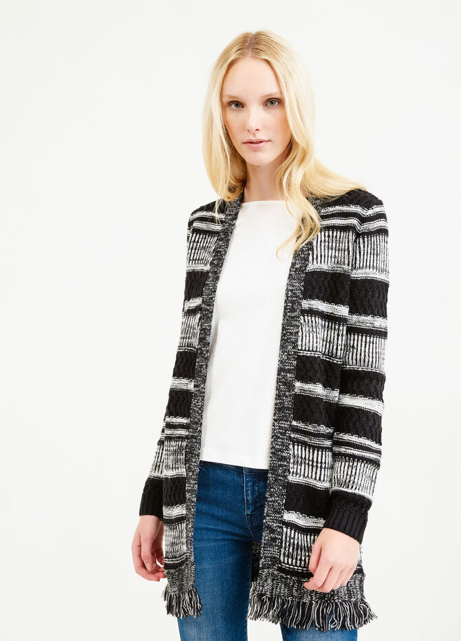Long striped cardigan with fringes