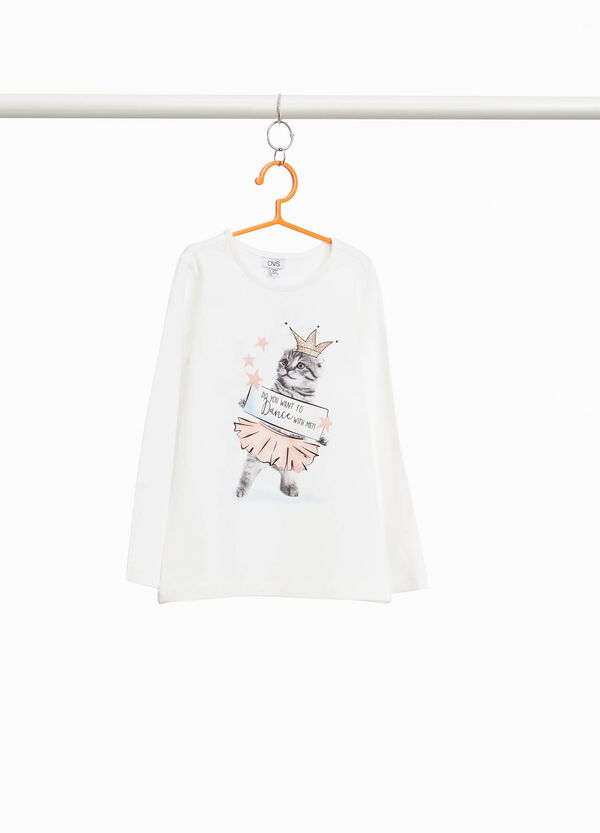 Stretch T-shirt with kitten print