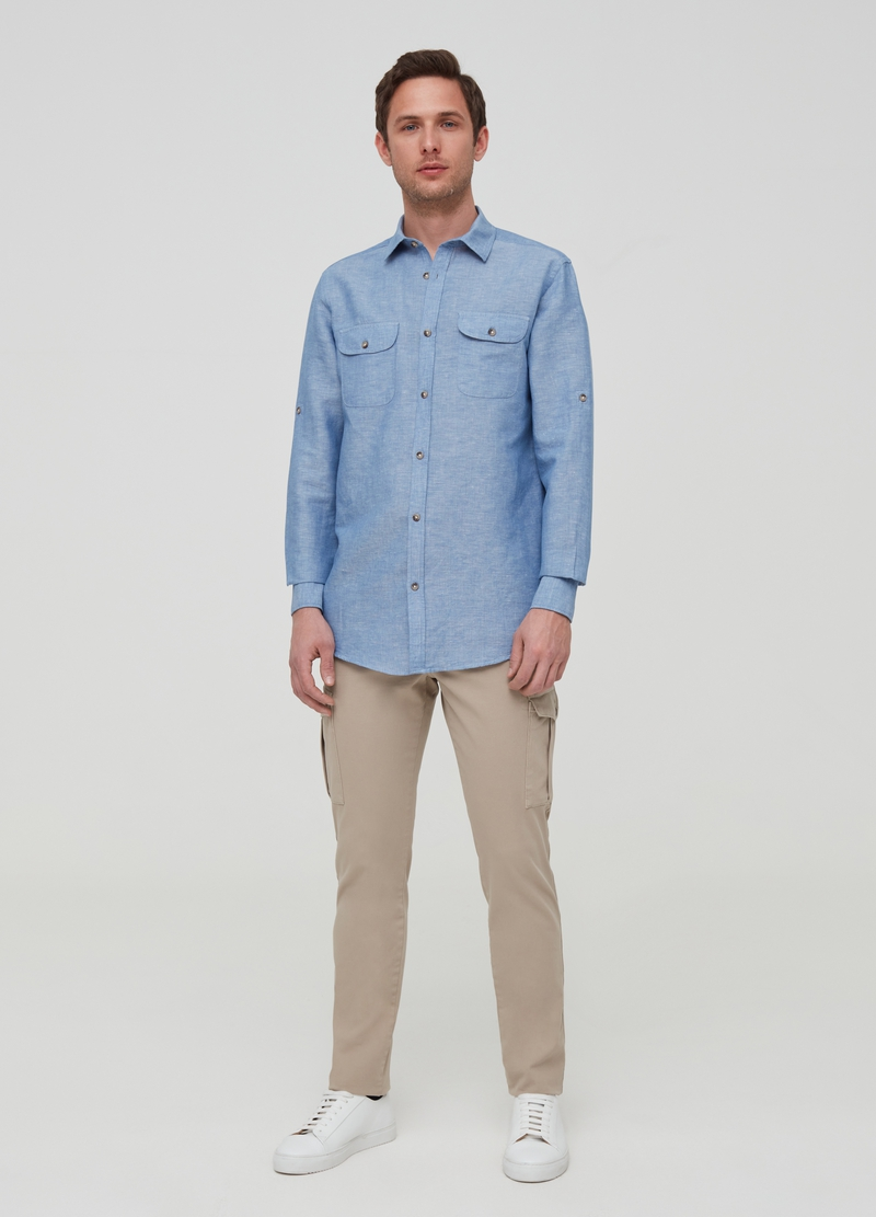 Iridescent-effect linen and cotton shirt image number null