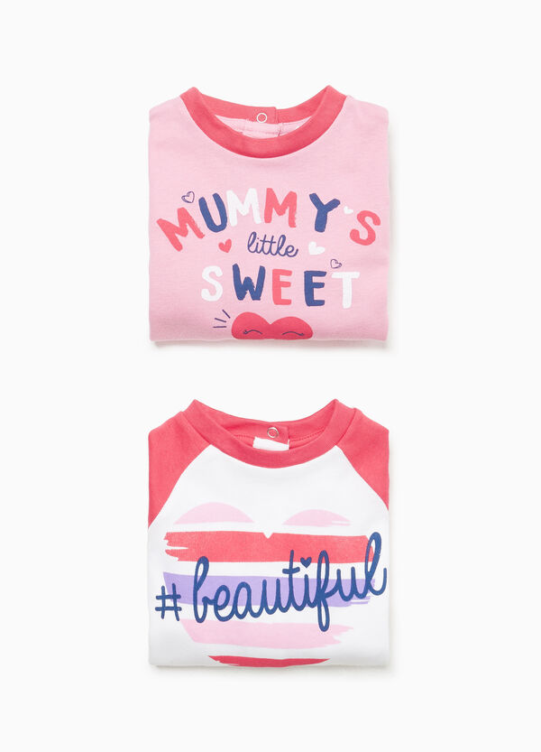 Two-pack printed cotton pyjama bodysuits