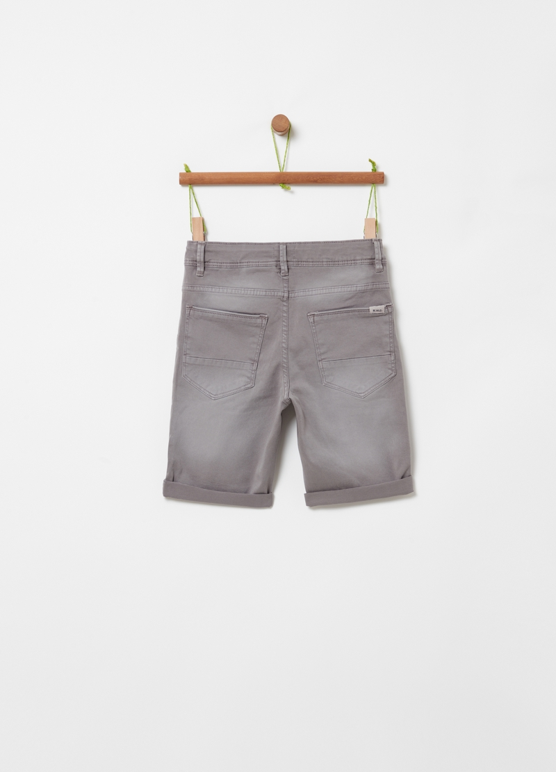 Five-pocket solid colour Bermuda shorts image number null