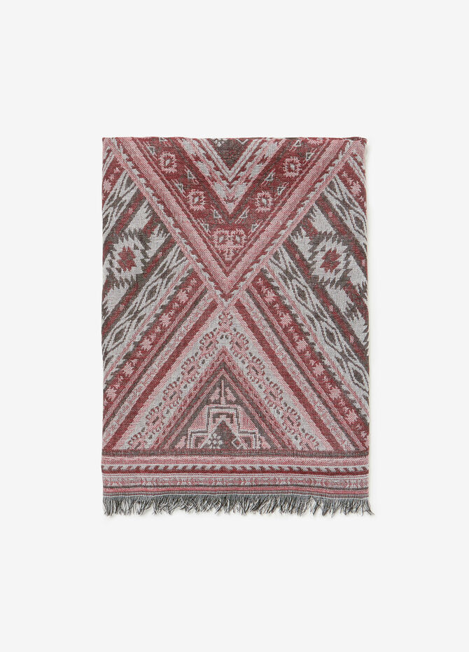 Jacquard scarf with ethnic motif