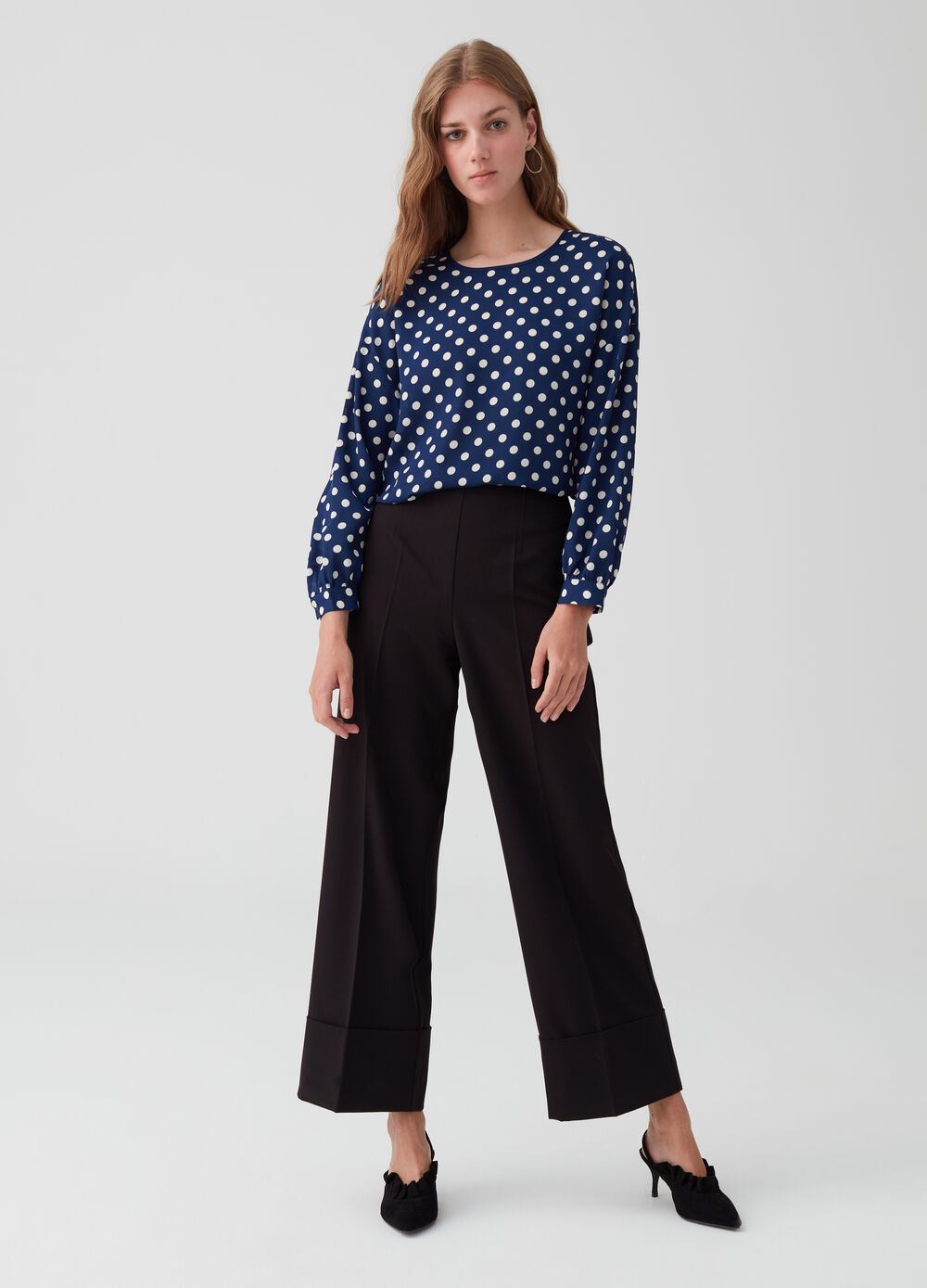 Stretch palazzo trousers with turn-up hems