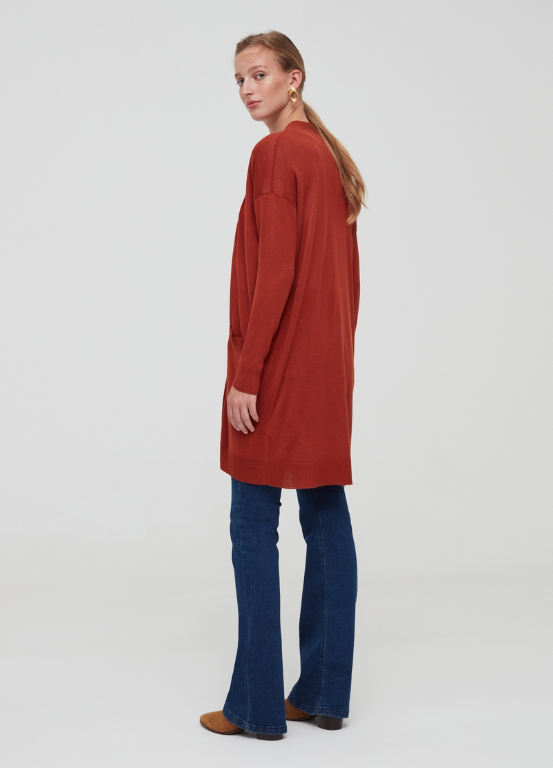 Solid colour open cardigan with pockets image number null