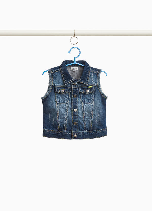 Worn-effect denim gilet with abrasions