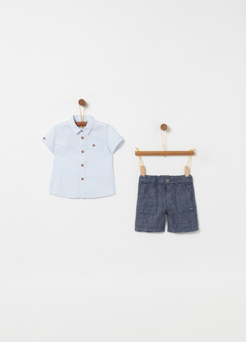 Short-sleeved check shirt and shorts set image number null