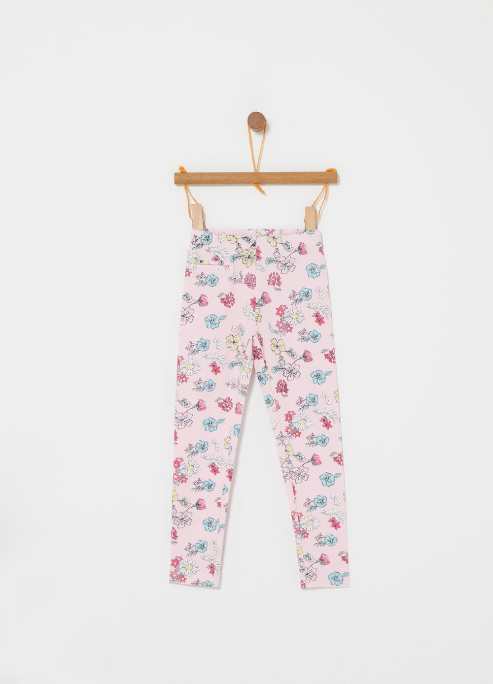Stretch piquet leggings with floral print