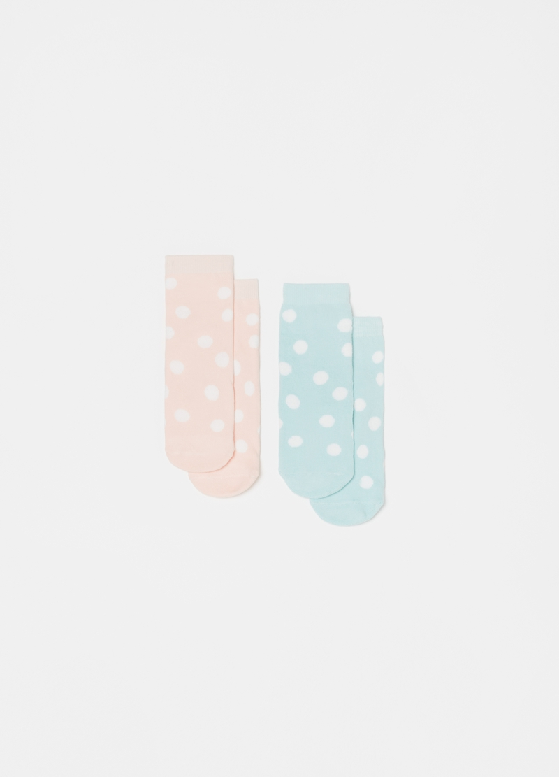 Two-pack slipper socks in stretch cotton blend image number null