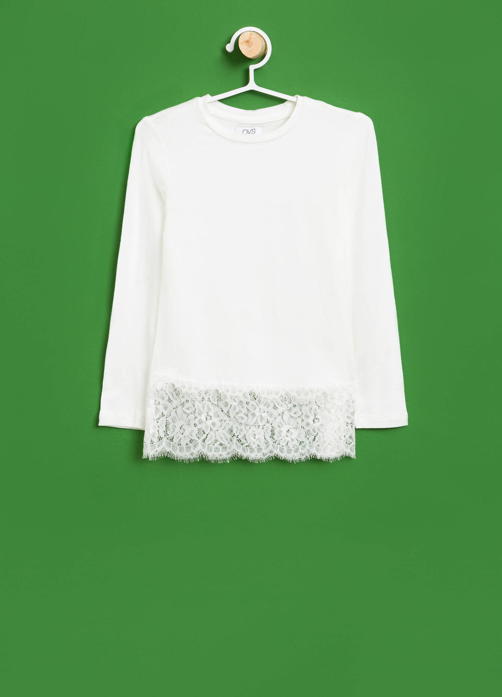 Stretch viscose T-shirt with lace