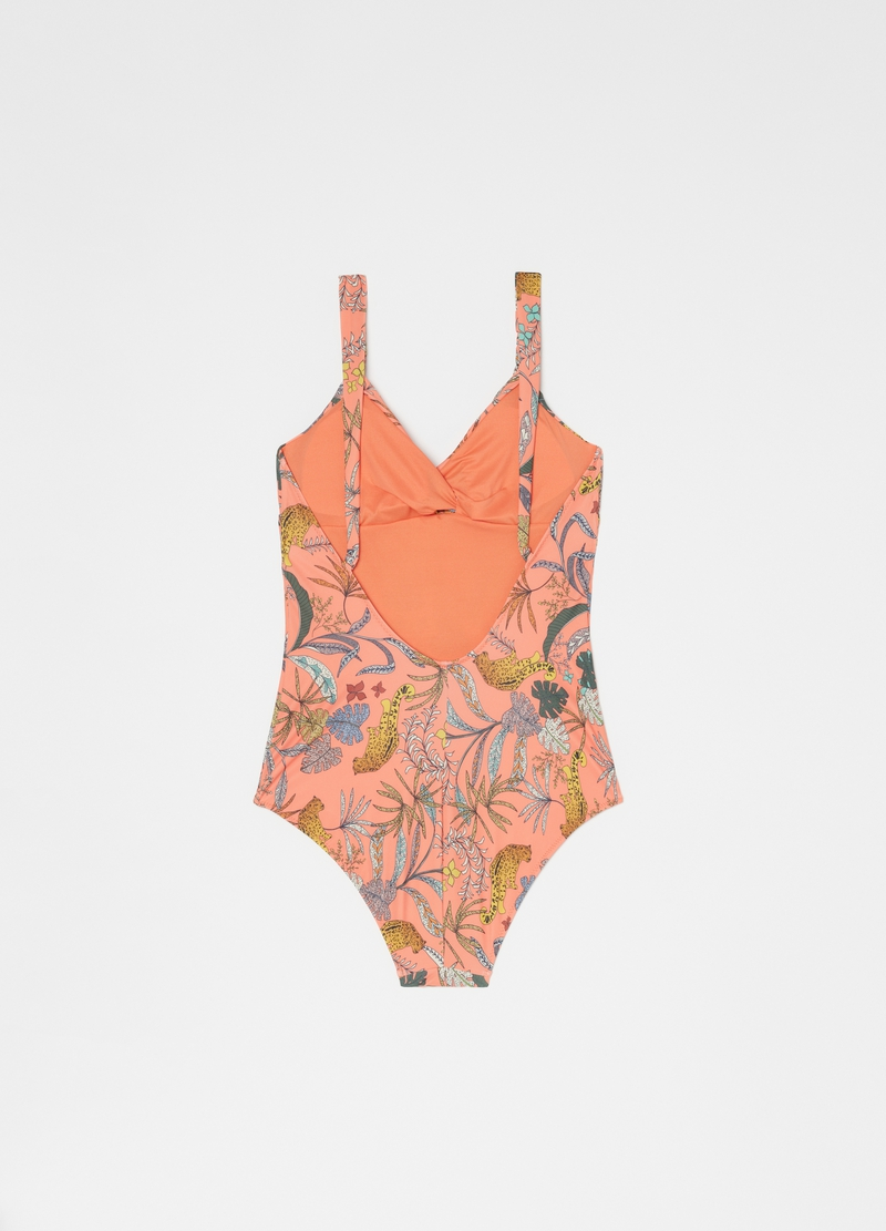 One-piece swimsuit with V neck image number null