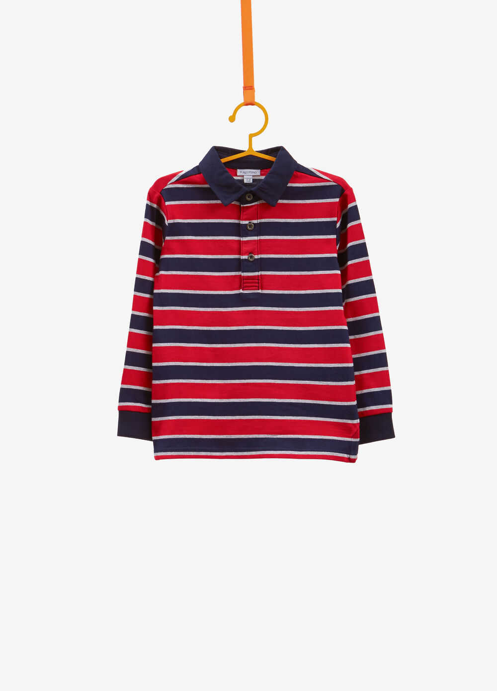 Cotton and viscose polo shirt with striped pattern