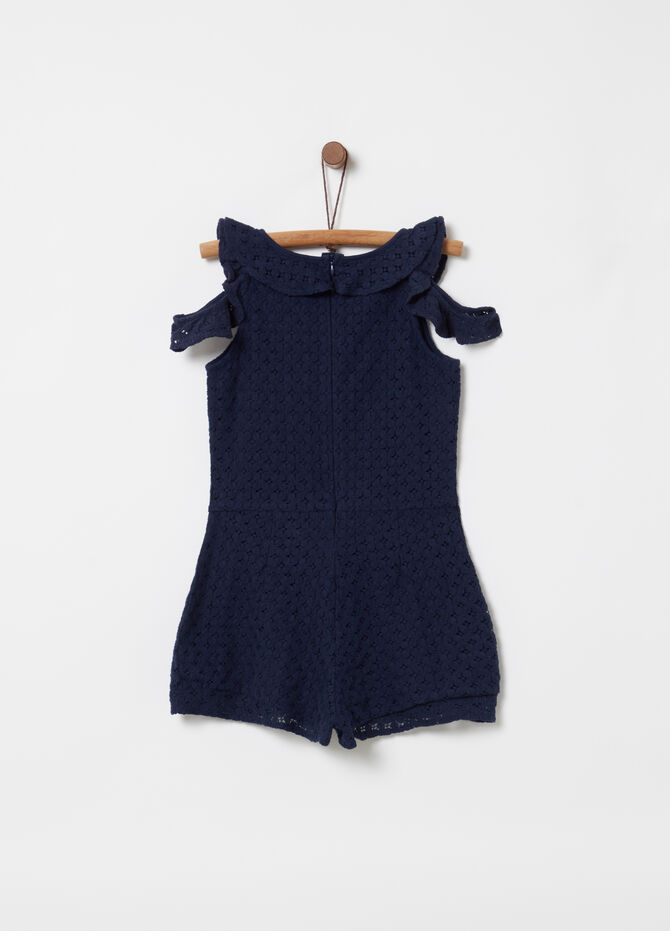 Short sleeveless lace-effect playsuit
